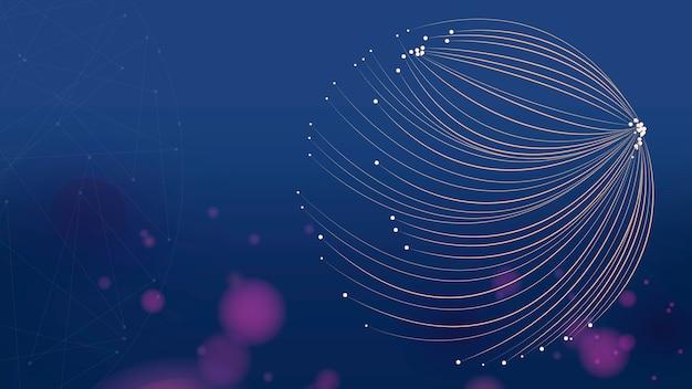 Papier peint dégradé futuriste de lignes de particules rondes