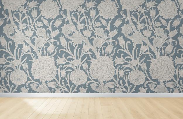 Papier peint floral dans une pièce vide avec plancher en bois