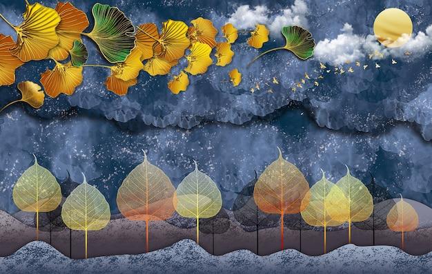 Papier peint avec fond gris feuilles dorées montagnes et lune arbre blanc et oiseaux.