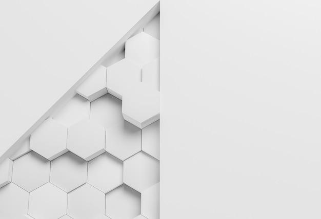 Papier peint géométrique moderne blanc avec hexagones