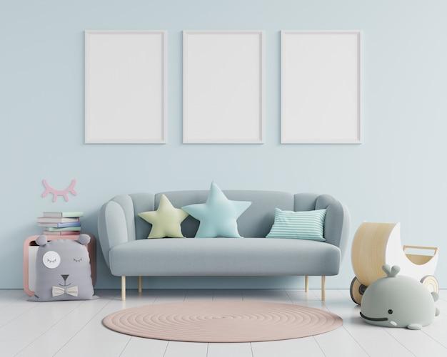 Papier peint intérieur pour chambre d'enfant / affiches de maquette dans l'intérieur de la chambre d'enfant.
