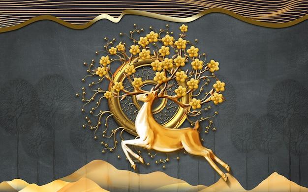 Papier peint mural 3d art.deer et branches de fleurs lignes de vagues dorées sur fond noir
