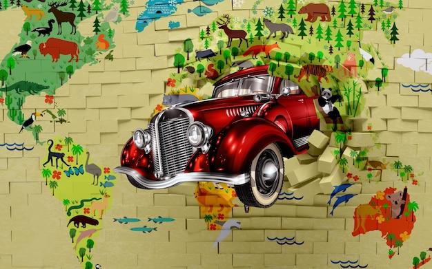 Papier peint mural 3d briques murales cassées et carte du monde de voiture classique rouge sur fond coloré adapté