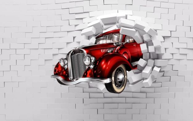 Papier peint mural 3d briques murales cassées et voiture classique rouge pour papier peint chambre enfants et enfants