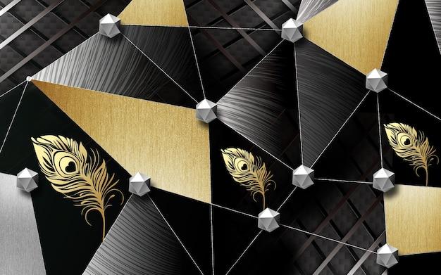 Papier peint mural abstrait 3d forme dorée formes géométriques sur fond sombre avec plume dorée