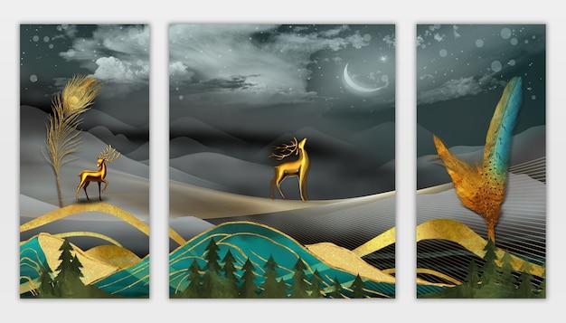 Papier peint mural d'art moderne 3d plumes dans le paysage de nuit fond de forêt coloré foncé
