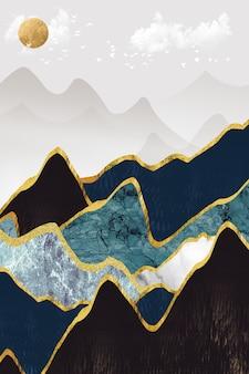 Papier peint mural art moderne doré noir montagnes blanches et turquoise soleil dans le ciel avec des oiseaux