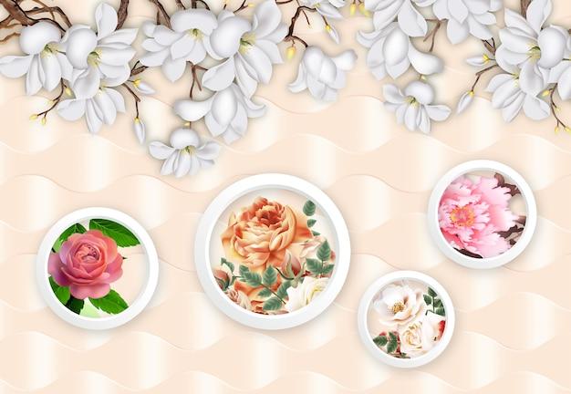 Papier peint mural floral 3d fleurs dans des cercles blancs sur fond clair