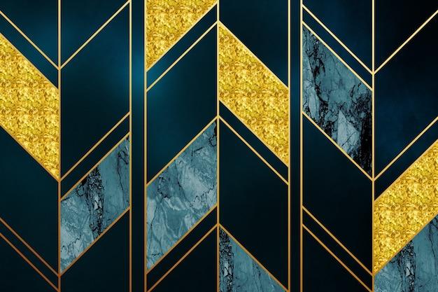 Papier peint mural moderne 3d lignes dorées et fond de marbre foncé cadres modernes muraux 3d