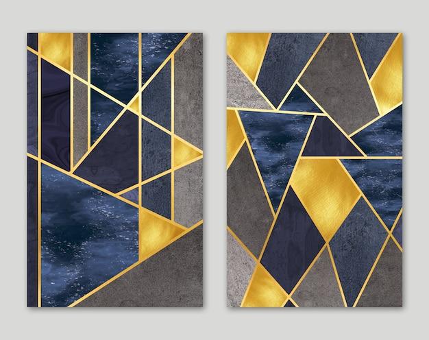 Papier peint mural moderne 3d lignes dorées et fond de marbre foncé pour cadres muraux modernes