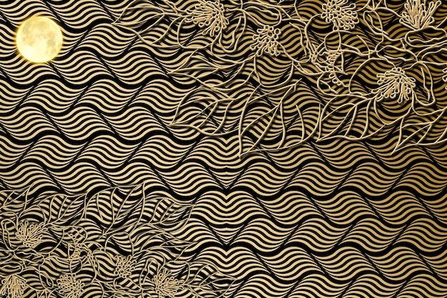Papier peint mural moderne abstrait avec des vagues dorées fond noir avec des branches de fleurs dorées