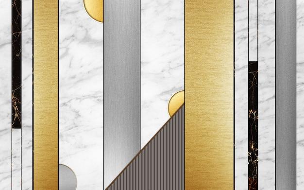 Papier peint mural moderne lignes et carrés dorés et noirs et forme noire en marbre blanc