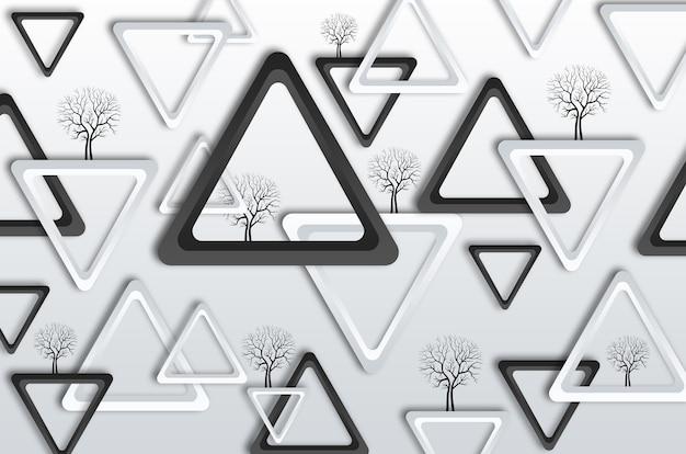 Papier peint mural moderne. triangles noirs et blancs avec arbre noir sur fond gris clair pour mur
