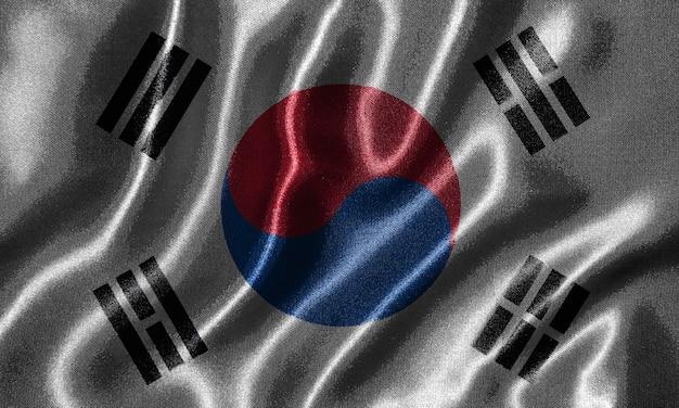 Papier peint par le drapeau de la corée du sud et agitant le drapeau par le tissu