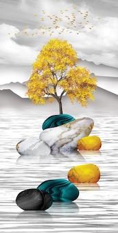 Papier peint paysage mural. fond gris arbre doré et oiseaux montagnes et nuages blancs