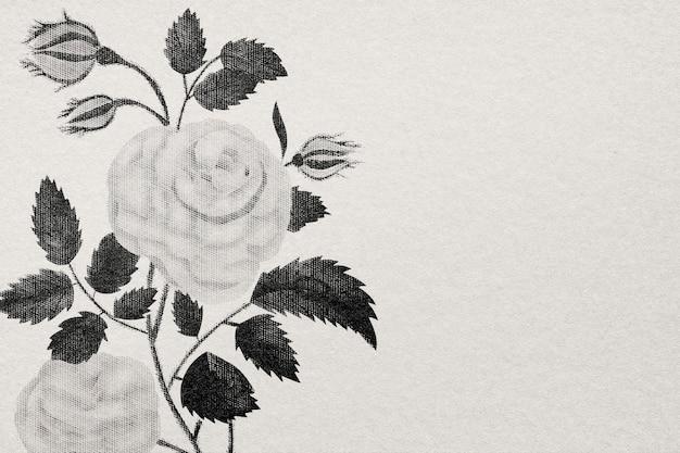 Papier peint rose fleur dessinée à la main gravée en bw