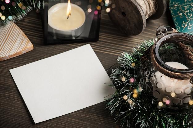 Papier pour cartes postales vierges, bougies aux lanternes