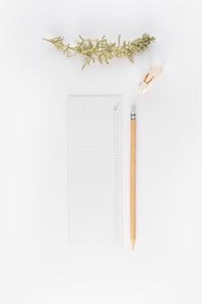 Papier près d'un crayon et d'un rameau de conifères