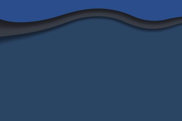 Papier sculpture art abstrait vagues fond bleu profond modèle de conception illustration papier 3d
