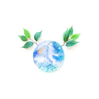 Le papier de la terre et les branches vertes