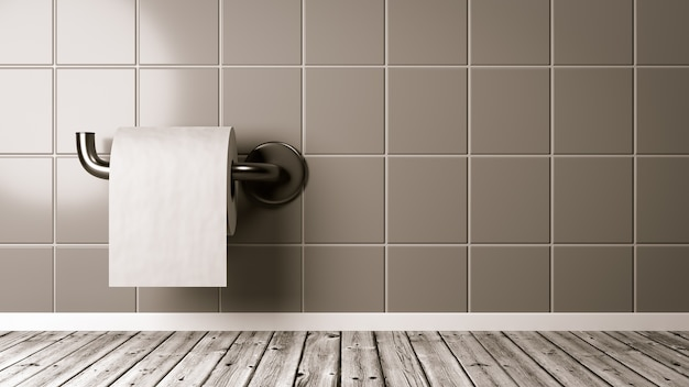 Papier toilette dans la salle de bain