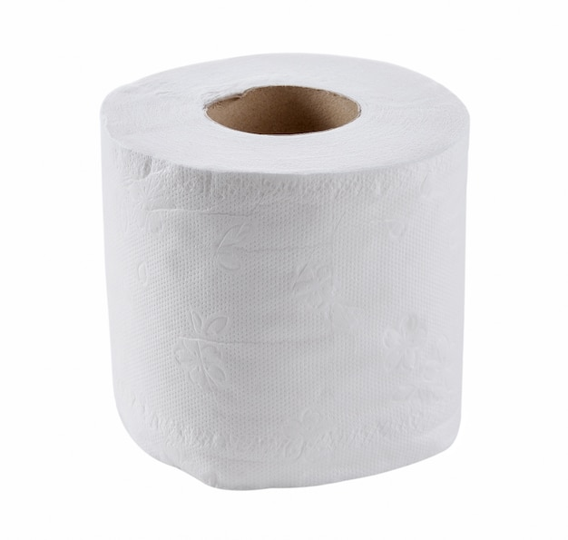 Papier de toilette isolé sur un blanc