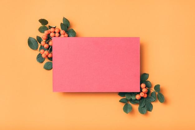 Papier vide rose. salutation de vacances. décor ashberry.