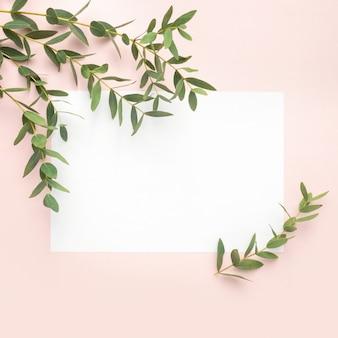 Papier vierge, branches d'eucalyptus sur fond rose pastel. plat, vue de dessus, espace de copie