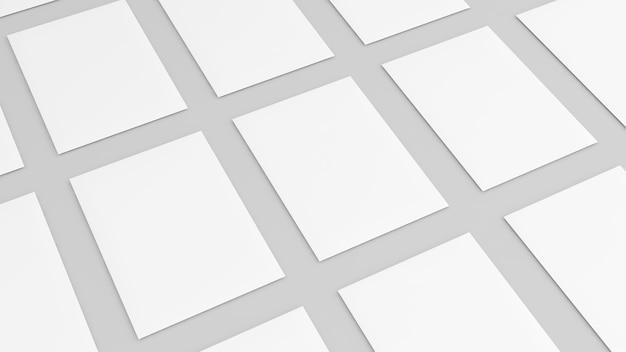 Papier vierge sur fond blanc, portrait vierge a4, maquette sur fond blanc isolé, rendu 3d