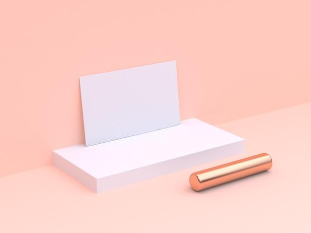 Papier vierge de scène de crème minimal maquette 3d rendu