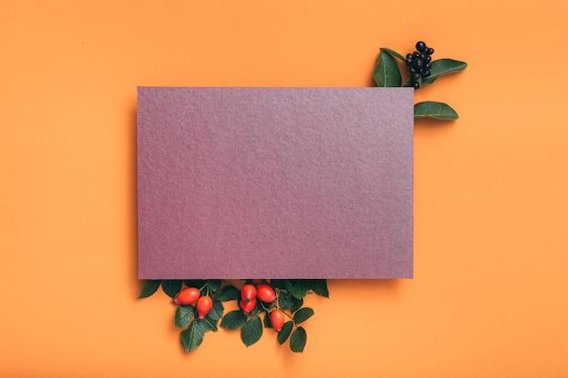 Papier vierge violet. salutation de vacances. arrangement festif de rose musquée.