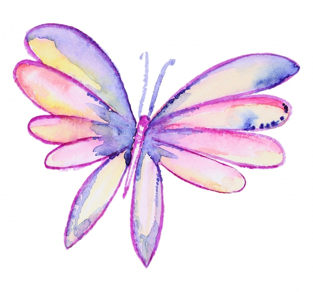 Papillon dessiné main aquarelle abstraite