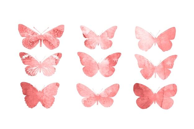 Papillons rouges isolés sur fond blanc. papillons tropicaux. insectes pour la conception. peintures à l'aquarelle