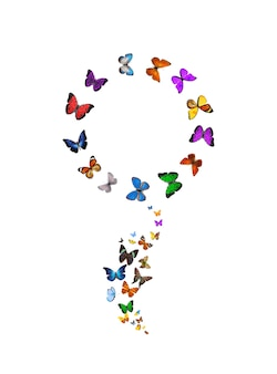 Papillons Sous La Forme D'une Fleur Isolé Sur Fond Blanc. Insectes Tropicaux. Papillons Colorés Pour La Conception. Photo De Haute Qualité Photo Premium