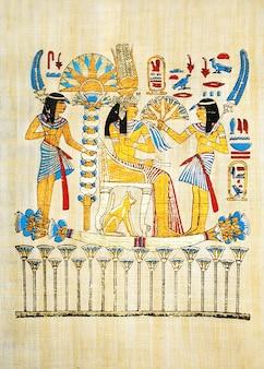 Papyrus égyptien traditionnel avec scène