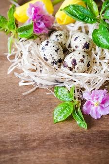 Pâques composition d'œufs et de fleurs printanières.