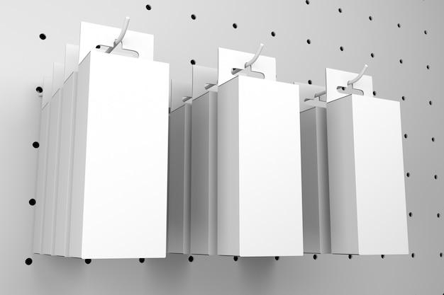 Paquet blanc blanc boîte de suspension de fente euro accrocher sur le support de panneau perforé - rendu 3d maquette