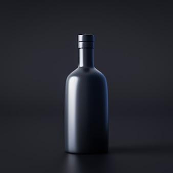 Paquet de bouteille d'alcool sur fond sombre rendu 3d
