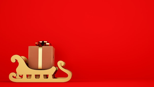 Paquet de cadeau de noël isolé sur traîneau doré avec fond rouge