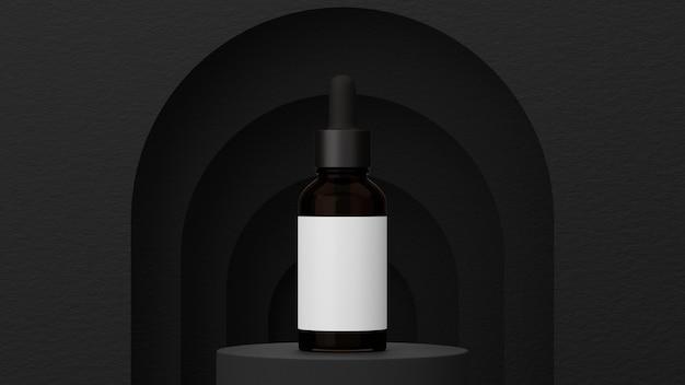 Paquet cosmétique pour hommes et modèle d'affiche sur fond de forme géométrique noire et étiquette vierge