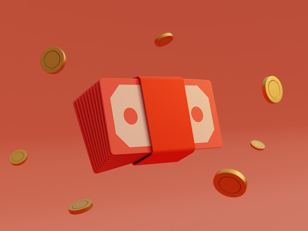 Paquet d'enveloppes rouges d'argent de billet de banque et pièce d'or sur le fond d'isolement. prix du jeu financier et de jeu d'entreprise pour le concept gagnant. rendu d'illustration 3d