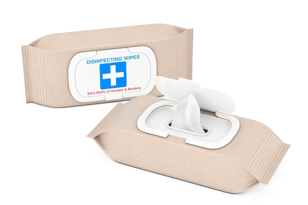 Paquet de lingettes désinfectantes antibactériennes humides sur fond blanc. rendu 3d
