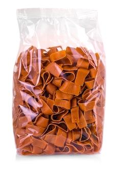 Paquet de pâtes en plastique transparent