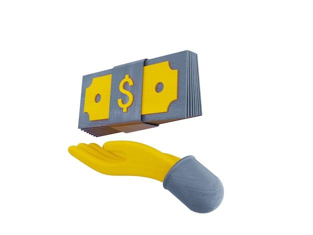 Les paquets d'argent et de pièces flottantes définissent des icônes jaunes sur fond gris illustration 3d render