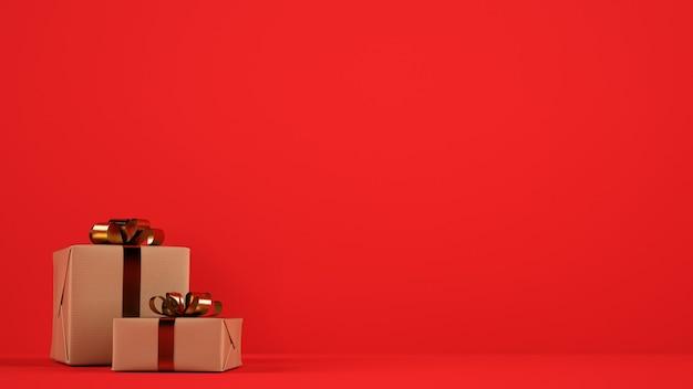 Paquets de cadeaux de noël isolés avec des rubans dorés sur fond rouge