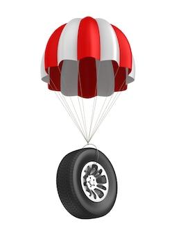 Parachute et roue sur espace blanc. illustration 3d isolée
