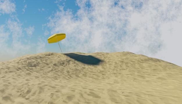 Parapluie jaune sur une montagne de sable de plage et un ciel avec des nuages. illustration 3d