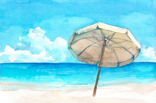 Parapluie sur la magnifique plage tropicale. illustration aquarelle dessinée à la main.