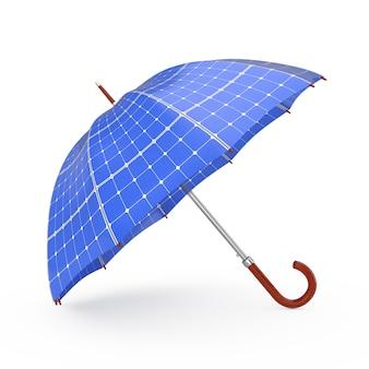 Parapluie avec panneaux solaires sur fond blanc rendu 3d