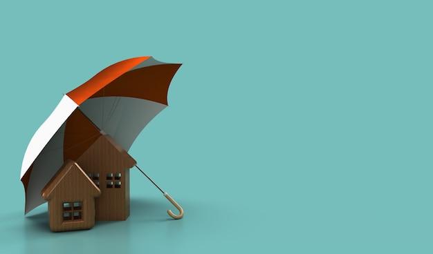 Un parapluie protège une petite maison avec un toit. concept d'assurance maison